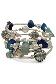 Idea Photo - BEADS! Check out the color combination...Memory wire, silver tubes, and beads!