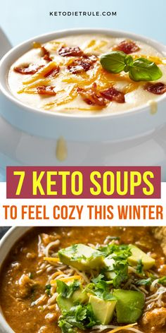 7 easy and delicious keto soups to feel cozy this holiday seasons. If you're still keeping up on the keto lifestyle, don't let colder days get in the way of reaching your goal. Check out these 7 delicious keto soup recipes. Ketogenic Recipes, Low Carb Recipes, Soup Recipes, Diet Recipes, Cooking Recipes, Healthy Recipes, Cheese Recipes, Healthy Soup, Healthy Eating