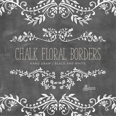 Chalk Floral Borders. 7 Digital Clipart. Hand draw от OctopusArtis