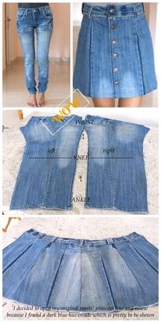 Stylish Ways to Alter Old Jeans into New Fashion- DIY Turn Jean into Button Front Denim Skirt Tutorial - WOW! Thumbs Up : Stylish Ways to Alter Old Jeans into New Fashion- DIY Turn Jean into Button Front Denim Skirt Tutorial Sewing Clothes, Diy Clothes, Sewing Jeans, Skirt Sewing, Stylish Clothes, Diy Old Jeans, Diy With Jeans, Artisanats Denim, Denim Skirts