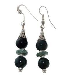 Jade Earrings Green Jade Silver Plate Accents