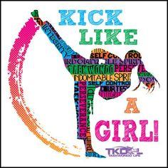 GIRL KICK! - TAEKWONDO T-SHIRT GREAT GIFT -Yes!- Kick Like a Girl! -YGSS-419 - Rhino Junction Apparel - 1