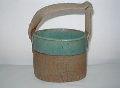 MIND BENDING Signed HILL Pottery BASKET Rustic HAND BUILT Textural SHABBY CHIC