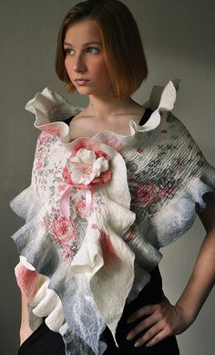 """Handfelted scarf """"Poetry night"""" 