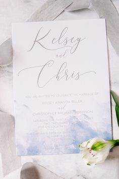 Boho Blue Wedding Invitations for a beach destination wedding