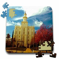 Jos Fauxtographee Realistic - The St. George LDS Temple in Utah Edited in an Older Looking Color Palette with Vivid Reds and Blue - 10x10 Inch Puzzle (pzl_47504_2) 3dRose http://www.amazon.com/dp/B016EC5Y9O/ref=cm_sw_r_pi_dp_lOMvwb19MZDSG