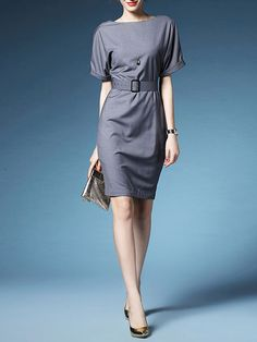 LONYUASH Solid color Jersy Polyester Knee Length Dress $69.99