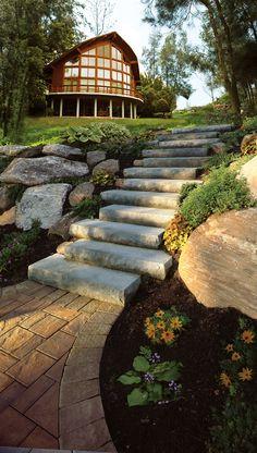 Cambridge Pavers cast stone steps.