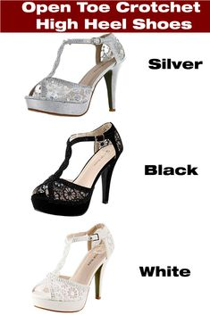 256414922fe584 Elegant floral lace design crotchet high heel stilleto sandals in various  colors and sizes. Check