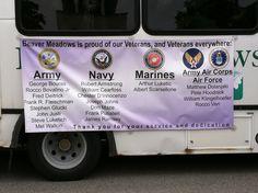 Sign on nursing home bus holding vets Memorial Day 2014