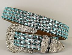 Queen Of Bling Blue Western Belt