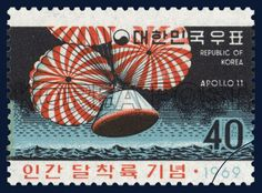 COMMEMORATIVE POSTAGE STAMPS ON MEN`S LUNAR LANDING, space shuttle, commemoration, red, black, 1969 08 15, 인간 달착륙 기념, 1969년 08월 15일, 638, 우주선이 지구에 귀환하는 모습, postage 우표