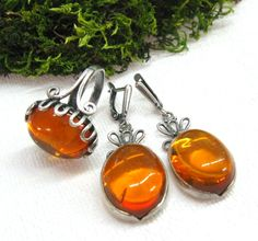 Vintage Ladies jewelry set Baltic Amber Ring and Dangle Earrings Honey amber in dark silver retro style gift for her USSR vntage 80s by SanaGem on Etsy