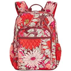 Vera Bradley Campus Backpack ($108) ❤ liked on Polyvore featuring bags, backpacks, bohemian blooms, lightweight backpack, lightweight rucksack, red backpack, lightweight daypack and bohemian backpack