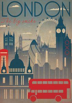Poster: gebouwen en bussen in volle vlakken of met gradiënt.