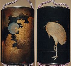 Case (Inrō) with Design of Heron Standing on One Leg (obverse); Full Moon among Clouds (reverse)