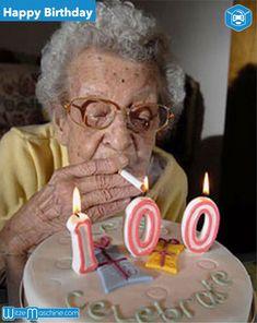 Happy Birthday - Coole Oma feiert 100. Geburtstag mit einer Zigarette