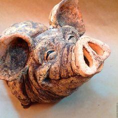 Купить Садовая скульптура Довольная свинья - бежевый, свинья, статуэтка, скульптура, садовая скульптура, хрюша