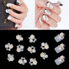 New Fashion 10pcs Silver Alloy Rhinestones Flower Nail Art Glitters Slices DIY Decoration