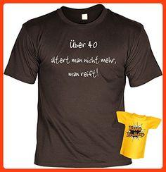 Geburtstags-Fun-Shirt-Set inkl. Mini-Shirt/Flaschendeko: über 40 altert man nicht mehr, man reift! (*Partner Link)