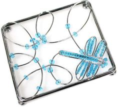 Blue Bead and Wire Dragonfly Magnet