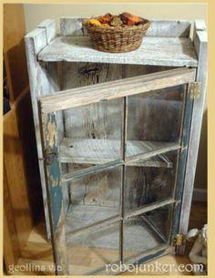 old barn decor | Old barn wood and window to create a shelf | Home Decor