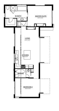 Love the simple lay out! but I would turn the master bed and bath into 2 bedrooms and put the master over on the other side. and just have the one bath.