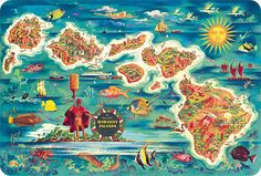 Map of the Hawaiian Islands - Hawaiian Vintage Postcard by Joe Feher