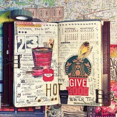 Catching up on week 34, back with winter journaling and hot drinks ! Love this combination ! Happy Journaling ! #carnetdevoyage #midoritravelersnotebook #thedailywriting #creativelettering #flowfrance #artjournal #moleskine #collage #artjournaling #journal #journaling #bulletjournal #travelers #mixedmedia #planner #junkjournaling #traveljournal #文具 #文房具 #印章 #ほぼ日手帳 #纸胶带 #手帳 #贴纸 #トラベラーズファクトリー #トラベラーズノート