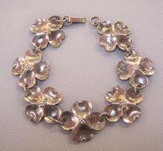 Vintage STUART NYE Signed Hand Crafted Sterling Silver 925 Dogwood Flower Link Bracelet Easter Women's Estate Fine Jewelry by VintagePolice4U on Etsy