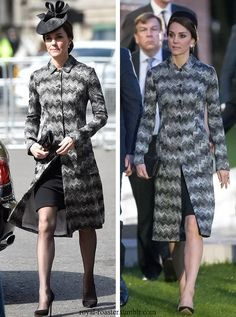 Wearing repeat (on right) Missoni coat £2900 and Lock and Co fascinator to pay remembrance to the victims of the London Terror Attacks along side Prince William and Prince Harry 4/5/17