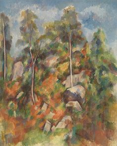 Paul Cézanne - Rocks and Tree, 1904