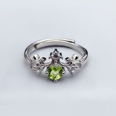 Affordable Antique Art Deco Peridot Crown Promise Ring