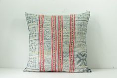 "Boho Bohemian Rare VINTAGE HMONG Textile Batik Patch Work Embroidered Ethnic Textile Striped Pink & Blue Navy Nautical Pillow Case 20"" x 20"""