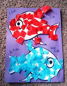 1 Fish, 2 Fish, Red Fish, Blue Fish craft idea. Cut up blue & red colored tissue paper. Cover a fish template in glue & let them stick the pieces on. School Week, Tot School, Dr Seuss Week, Dr Suess, Book Activities, Preschool Activities, Fish Crafts, Pre K, Children