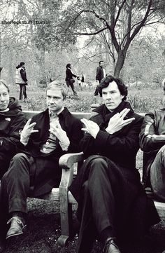 Sherlock and John - can we all just take a moment to appreciate the fact that Benedict is giving the sign for Live Long and Prosper?