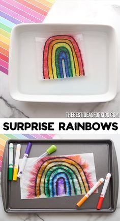 Surprise Rainbow Activities - these 2 kids activities are fun for an indoor or spring activity! Make these 2 fun and easy rainbow activities! Surprise kids with these surprise rainbow activities. You only need water, markers and paper towel to do them! Rainbow Activities, Toddler Learning Activities, Spring Activities, Craft Activities For Kids, Diy Crafts For Kids, Preschool Activities, Fun Crafts, Rainbow Crafts Preschool, Rainbow Games