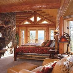 Milled Log Bedroom at the lake house rustic cabin.