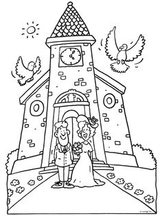 Kleurplaat Trouwen - huwelijk - bruidspaar - Kleurplaten.nl Wedding Coloring Pages, Coloring Pages To Print, Coloring Book Pages, Coloring For Kids, Kids Wedding Favors, Kids Table Wedding, Wedding With Kids, Activity Sheets For Kids, Kids Activity Books