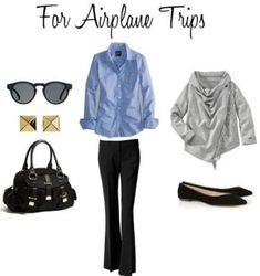 Black Pants for the Plane Black pants, blue oxford, gray shrug, black flats How To Have Style, My Style, Business Travel Outfits, Airport Style Travel Outfits, Traveling Outfits, Business Style, Capitol Hill Style, Airplane Outfits, Airplane Clothes