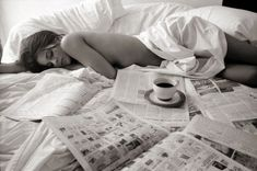 perfect Sunday morning: make up done, hair perfect, coffee unspillable, paper provided, ensuing nap!