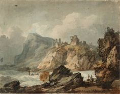 Joseph Mallord William Turner 'Landscape Composition with a Ruined Castle on a Cliff',    ---   From Drawings and Watercolours Connected with the Welsh and Marches Tours    ---    1792–3  -  Graphite and watercolour on paper -  Dimensions Support: 214 x 273 mm -  Collection -  Tate