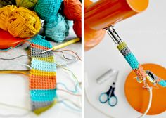 This looks like too much fun to pass up! I'm going to crochet around my lamp :) Bright Colours and Interior DIY Home Decor Tutorials from Luzia Pimpinella Blog - Heart Handmade uk