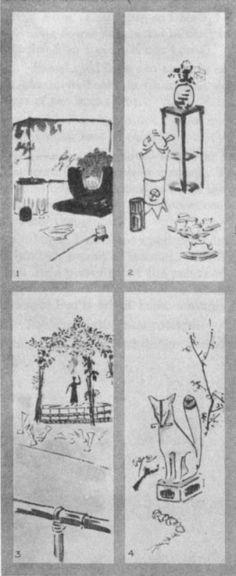 Cha no Yu (1). Sen Cha (2). Birth of Buddha (3). Inari (4). Plate LXVI.
