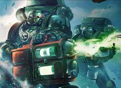 Dark Angels wielding rare heavy plasma cannons.
