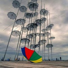 Umbrella's Sculpture, THESSALONIKI at the sea side (Στην παραλία της πόλης της Θεσσαλονίκης), Central MACEDONIA - GREECE .  by @georgepapanas