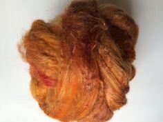 Zelf geverfde merinowol met zijde, roest tinten, per 50 gram