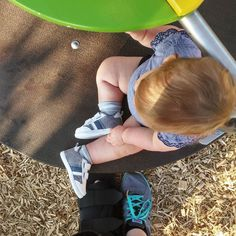 We went to the park today. Becoming braver on the swing but tan bark & grass are still a no-go.  #PNPAD #photoaday2015 #fromwhereistand
