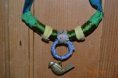 green turquoise and mustard yellow fabric necklace by HANUTALE