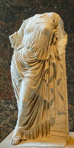 Aphrodite leaning against a pillar. Marble, Roman copy of the 1st–2nd centuries AD after a Greek original of the late 5th century. Louvre Museum